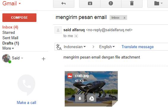 mengirim email dengan file lampiran (file attachment)