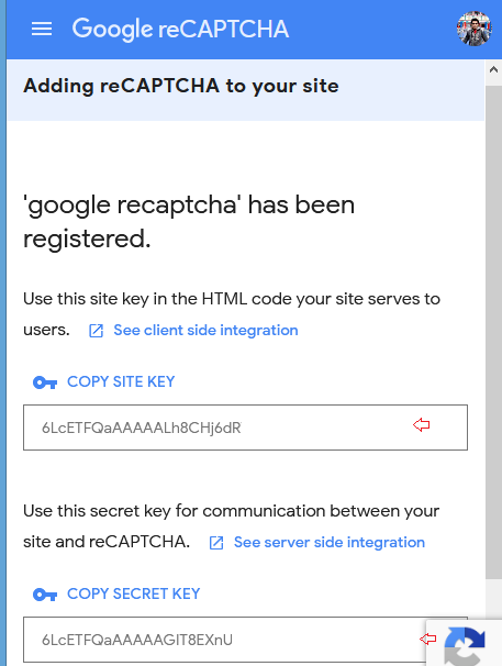 site key and secret key recaptcha