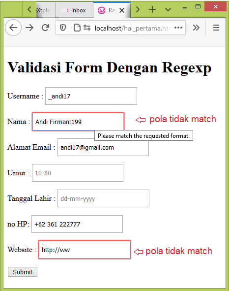 validasi form regex